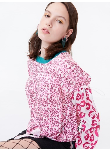 Twist Desen Geçişli Bel Bağcıklı Bluz Pembe